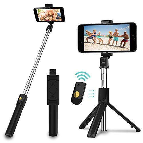 SYOSIN Selfie Stick, 3 in 1 Extendable Selfie Stick Tripod with Detachable Bluetooth Wireless Remote Phone Holder Compatible with iPhone 11/11PRO/XS Max/XS/XR/X/8P/7P, Android Galaxy S10/S9/S8