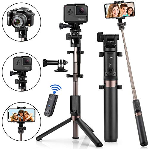 KUSKY Selfie Stick Bluetooth, 4-in-1 Extendable Selfie Stick Tripod with Wireless Remote Shutter for iPhone X/8/8P/7/7P/6s/6P, Galaxy S9/S9 Plus/S8/S7/ S6/S5/Note 8, Google, Huawei and More